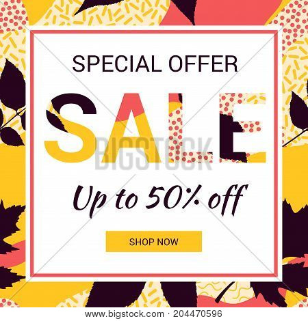 Social media promotional sale banner. Abstract autumn leaves background. Patterns in trendy 80s and 90s Memphis style.  EPS10.