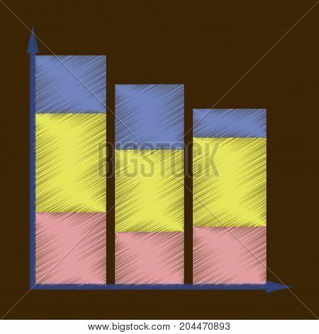 flat shading style icon Economic chart financial
