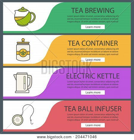 Tea web banner templates set. Electric kettle, container, teapot, ball infuser. Website color menu items. Vector headers design concepts