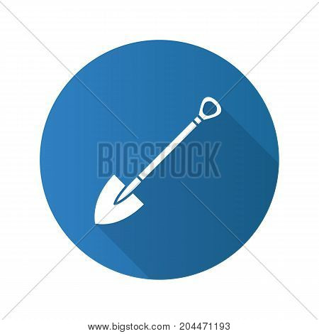 Shovel flat design long shadow glyph icon. Spade. Vector silhouette illustration