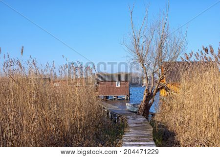 Wooden house on the lake at winter on sunny day