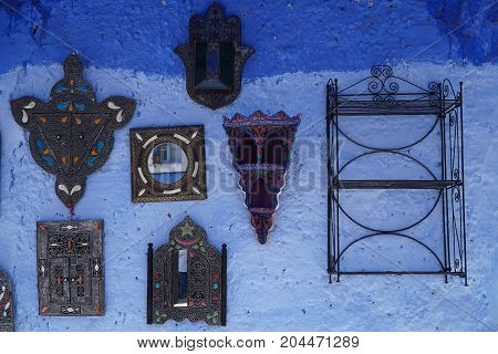 Some Souvenirs Hanged On Wall In Chefchaouen, Morocco.