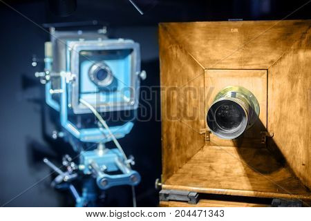 Vintage steel and wooden camera closeup photo