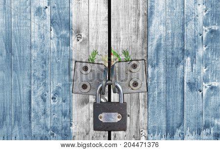 Guatemala flag on door with padlock close