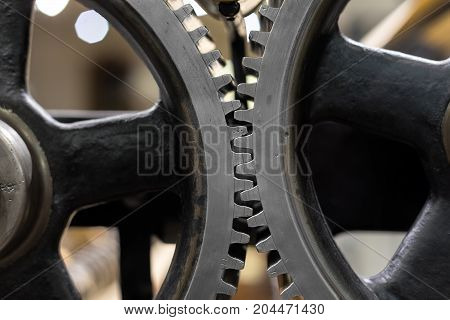 Clean gears and cogs as industrial background