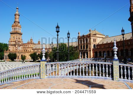 SEVILLE, SPAIN - APRIL 12, 2008 - Footbridge and tower in the Plaza de Espana Seville Seville Province Andalusia Spain Western Europe, April 12, 2008.