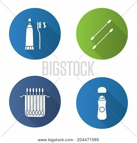 Hygienic products flat design long shadow glyph icons set. Earsticks package, toothpaste with brush, roll antiperspirant. Vector silhouette illustration