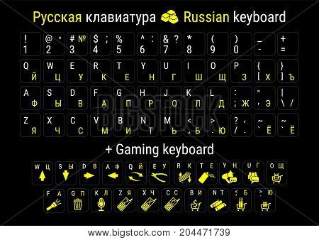 Stickers for keyboard, Russian keyboard layouts. Stickers for gaming keyboard.