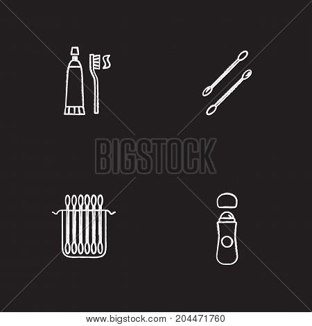 Hygienic products chalk icons set. Earsticks package, toothpaste with brush, roll antiperspirant. Isolated vector chalkboard illustrations