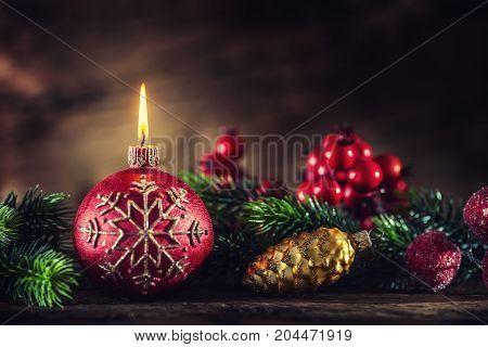 Christmas Candle. Christmas Burning Candle With Christmas Decorations.