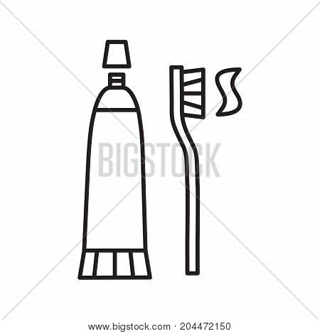 Toothbrush and toothpaste linear icon. Thin line illustration. Dentifrice. Contour symbol. Vector isolated outline drawing