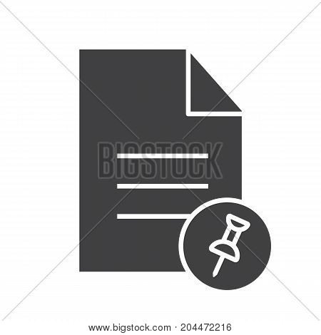Pin document glyph icon. Silhouette symbol. Text file with pin. Negative space. Vector isolated illustration