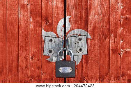 Hong Kong flag on door with padlock
