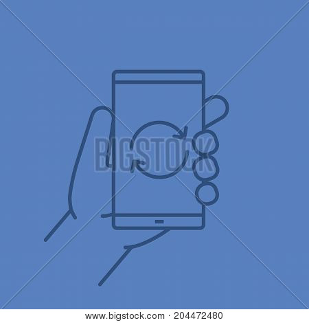 Hand holding smartphone linear icon. Smart phone restart. Thin line outline symbols on color background. Vector illustration