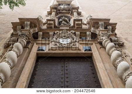An old ornate church door in Valencia Spain