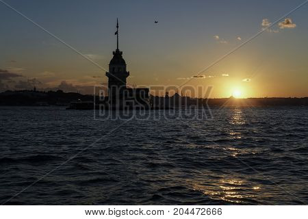 The Maiden's Tower During Sunset In Istanbul, Turkey.