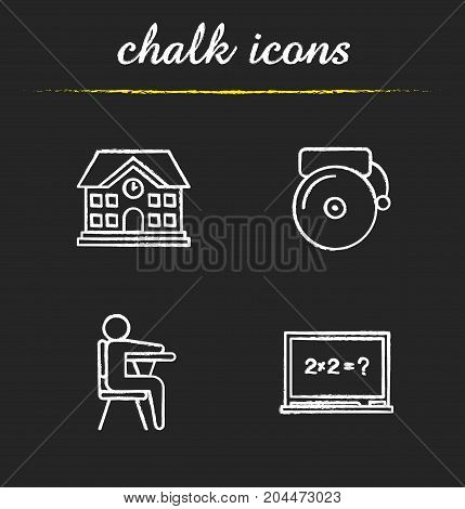 Education chalk icons set. School building, bell, pupil sitting in classroom, blackboard. Isolated vector chalkboard illustrations