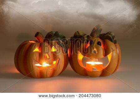 Mystic halloween background, Halloween pumpkins with burning candles