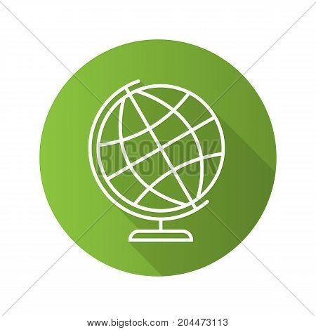 School globe flat linear long shadow icon. Earth spherical model. Vector outline symbol
