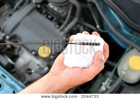 Details of checking engine oil dipstick in car poster