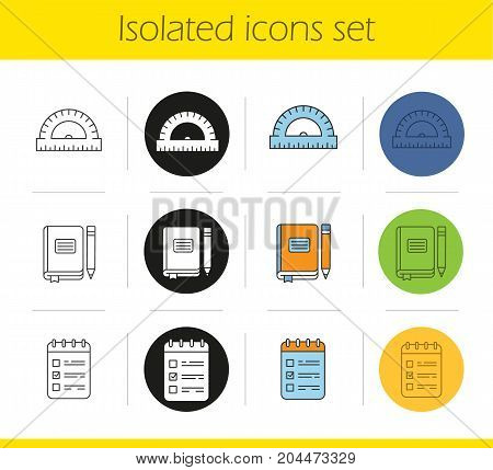 School and education icons set. Linear, black and color styles. School ruler, journal with pencil, to do list. Isolated vector illustrations