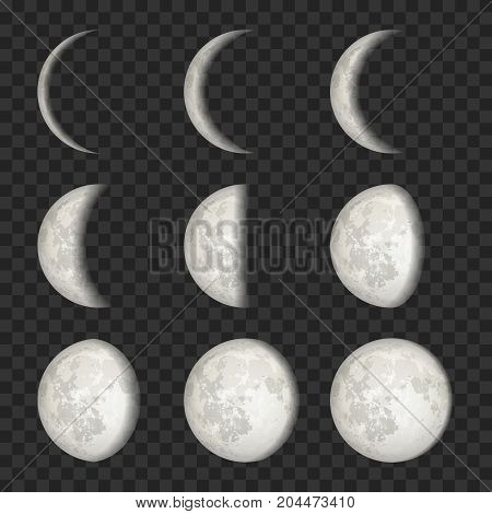 Vector lunar phase icon set. The whole cycle from new Moon to full Moon on transparent background.