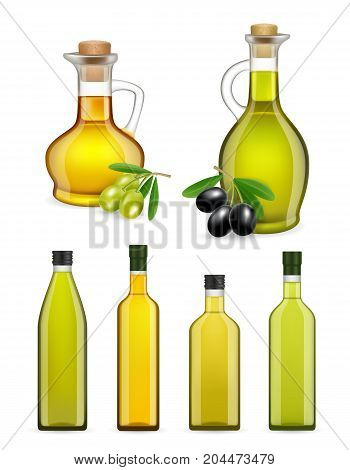Vector set of realistic glass olive oil bottles and jars isolated on white background. Olive oil packaging templates. Olive oil product ad.