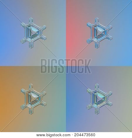 Set with four color variants of same snowflake. This is real snow crystal of triangular plate type with simple arms and glossy central triangle. Snowflake glittering on bright gradient background.