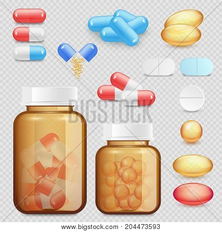 Vector drugs and pills icon set. Realistic pharmaceutical capsules and tablets, plastic pill bottle templates.