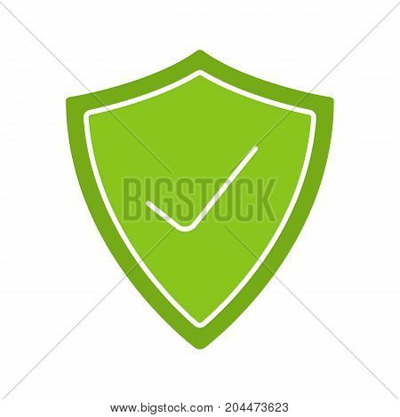 Security check glyph color icon. Protection shield with tick mark. Silhouette symbol on white background. Negative space. Vector illustration
