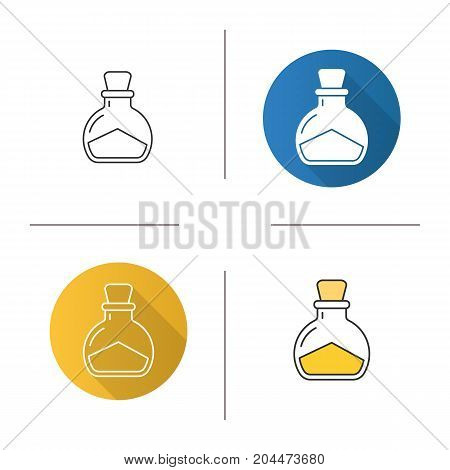 Sea salt icon. Flat design, linear and color styles. Magic potion bottle. Isolated vector illustrations
