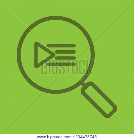 Playlist search linear icon. Magnifying glass. Thick line outline symbols on color background. Vector illustration