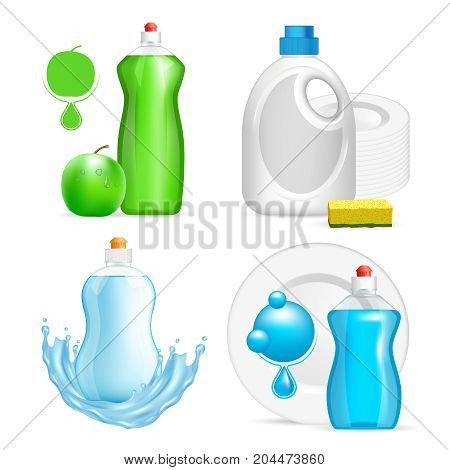 Vector set of realistic dishwashing liquid product icons isolated on white background. Plastic bottle label design. Washing-up liquid or dishwashing soap brand advertising templates.