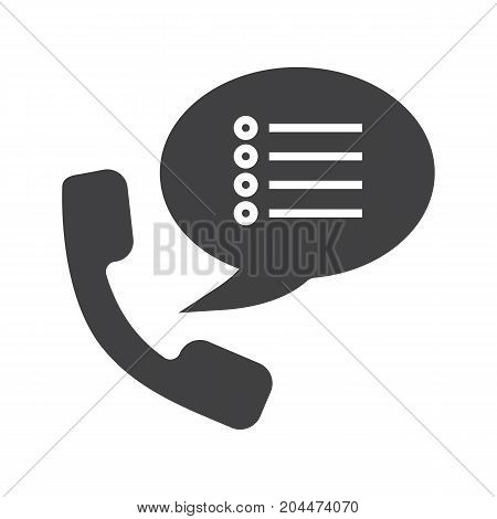 Phone settings glyph icon. Silhouette symbol. Handset with preferences inside speech bubble. Negative space. Vector isolated illustration