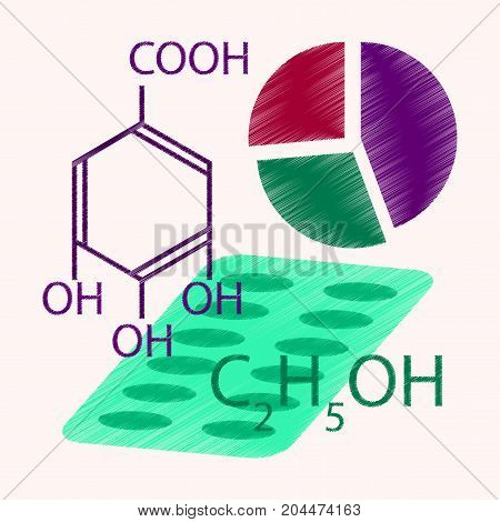 flat shading style icon Medical infographics chemical