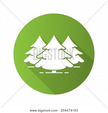 Fir forest flat design long shadow glyph icon. Spruces. Vector silhouette illustration