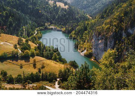 Tara National park ,lake Zaovine, Wester Serbia, aerial view