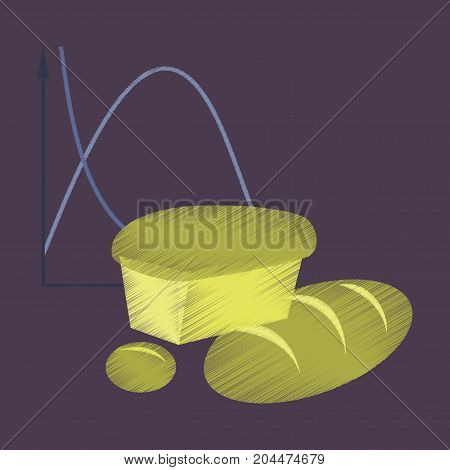 flat shading style icon Bread chart infomation