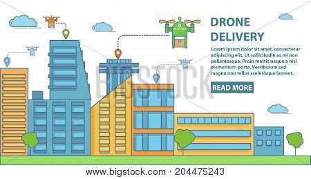 Drone delivery concept vector horizontal banner. Quadcopters delivering parcels to customers. Modern flat style design element for drone delivery business advertising.