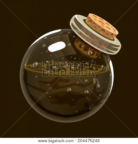 Bottle of mud. Game icon of magic elixir. Interface for rpg or match3 game. Earth or mud. Big variant. Vector illustration