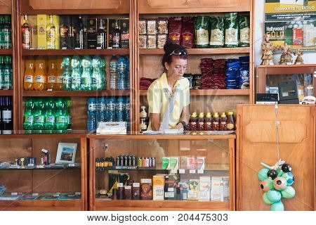 Trinidad,Cuba-9 September 2015: Tourist shop. The Spanish colonial  village which is a Unesco World Heritage Site and major tourist attraction in the Caribbean Island