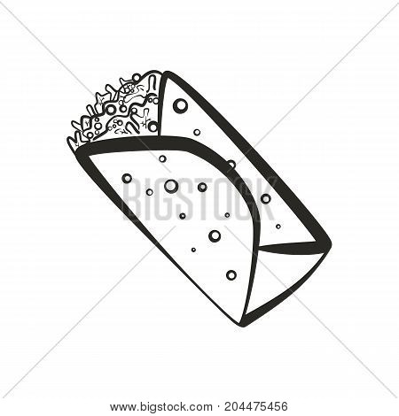 Black isolated vector outline burrito icon. Minimalistic cartoon linear mexican burritos symbol for fast food restaurant or cafe menu advertisement banner web design