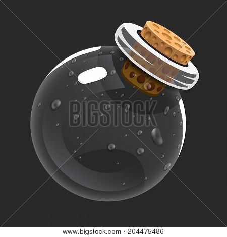 Empty bottle. Game icon of magic elixir. Interface for rpg or match3 game. Empty or used. Big variant. Vector illustration