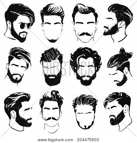vector illustration of the men hairstyle silhouettes
