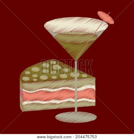 flat shading style icon Cocktail and cake