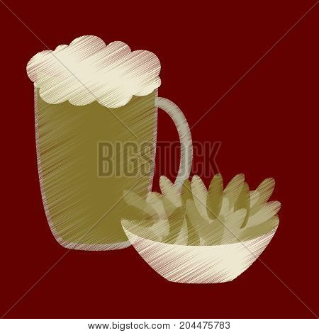 flat shading style icon Beer and nuts