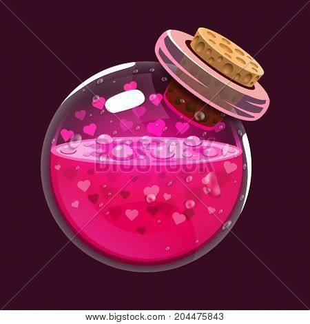 Bottle of love. Game icon of magic elixir. Interface for rpg or match3 game. Love. Big variant. Vector illustration