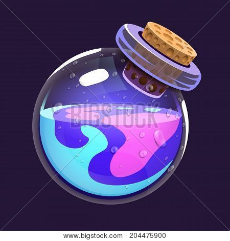 Bottle of magic. Game icon of magic elixir. Interface for rpg or match3 game. Blue and violet. Big variant. Vector illustration