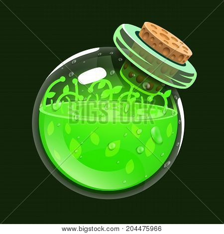 Bottle of life. Game icon of magic elixir. Interface for rpg or match3 game. Health or nature. Big variant. Vector illustration
