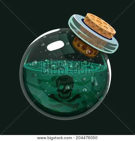 Bottle of poison. Game icon of magic elixir. Interface for rpg or match3 game. Poison. Big variant. Vector illustration